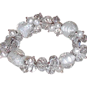 Crystal, Glass and Freshwater Pearls Stretch Bracelet  - White