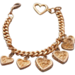 Vintage Gold Plated Heart Charm Bracelet  6 Charms - 7.75&quot;