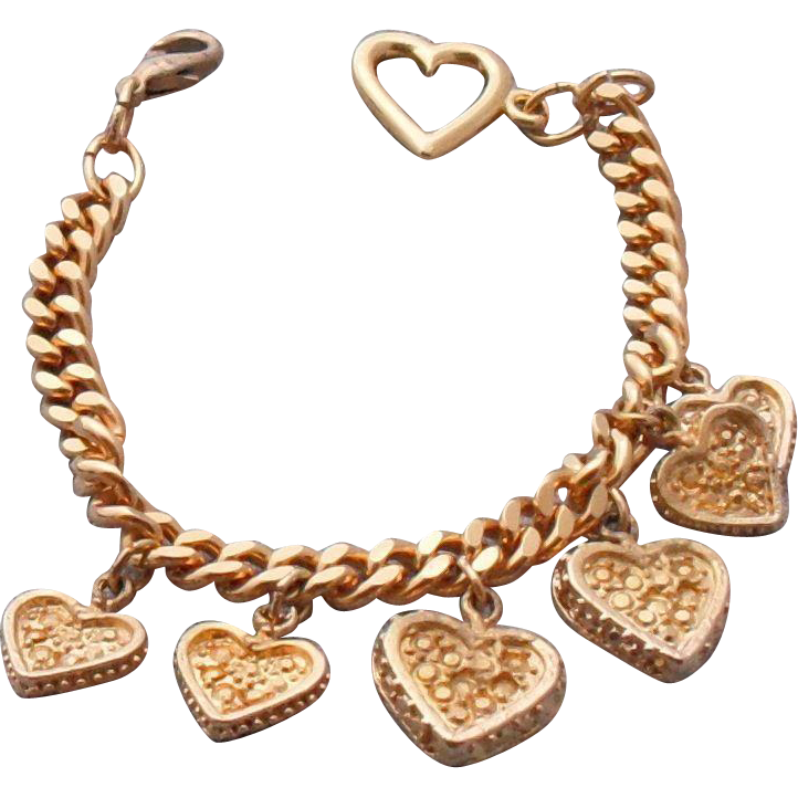 Vintage Gold Plated Heart Charm Bracelet – 6 Charms - 7.75""