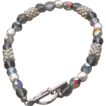 Silver Colored Seed Bead Bracelet with Grey Aurora Beads - 7.75""