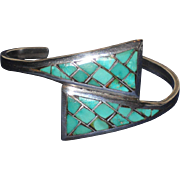 Vintage Sterling Silver Turquoise Mosaic Cuff Bracelet  approx. 6.35&quot;