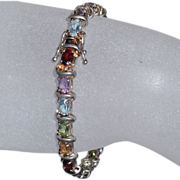 Sterling Silver Multi-Color Semi-Precious Bracelet  - 7.5""