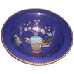 Blue Cloisonn� Bowl with Designs (vase, fruit and flowers)