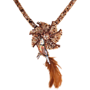 REDUCED Brown Tweed Necklace with Bird Pin