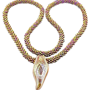 Metallic Multi glass seed bead Necklace w/Pendant.