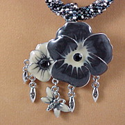 REDUCED Black/White Tweed Seed Bead Necklace with Pansies