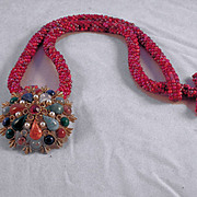 REDUCED Red Tweed Seed Bead Necklace