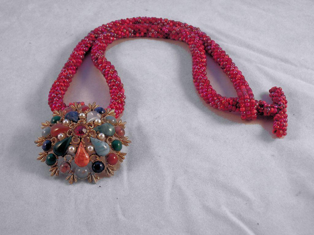 Red Tweed Seed Bead Necklace
