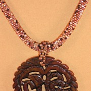 REDUCED Brown Tweed Seed Bead Necklace