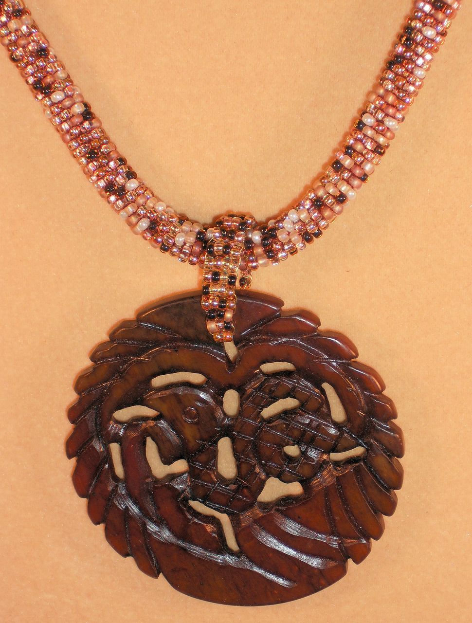 Brown Tweed Seed Bead Necklace