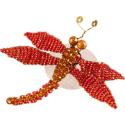 Red Iridescent Beaded Dragonfly Door Decoration
