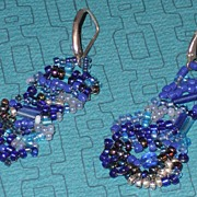 REDUCED Unmatched Pair Blue Bead Earrings/Silver - Pierced