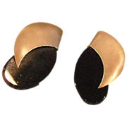 14K Yellow Gold and Onyx Post Earrings