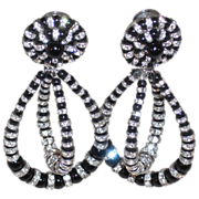 Vintage Earrings  Clip  Black Rounds/Austrian Crystal Rondell