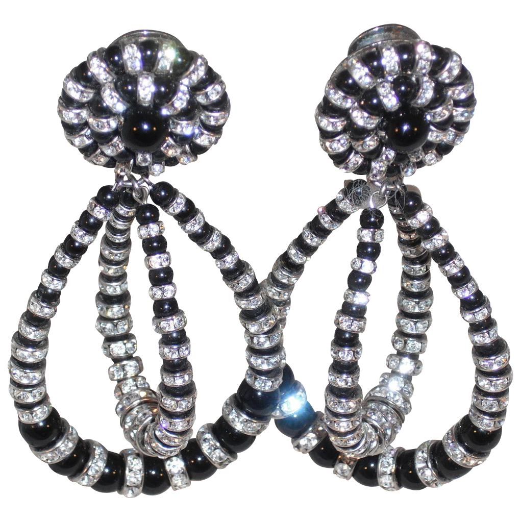 Vintage Earrings – Clip – Black Rounds/Austrian Crystal Rondell