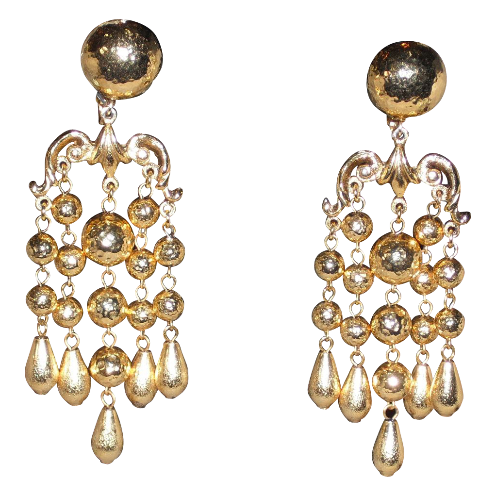 Jose & Maria Barrera Gold Plated Chandelier Clip Earrings