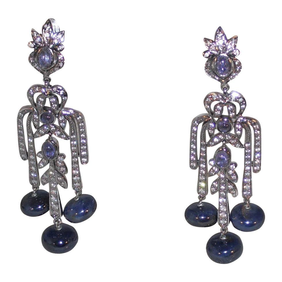 Sapphire and Amethyst Earrings - Clip