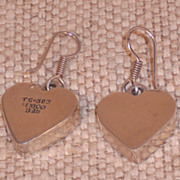 Vintage Sterling Silver Taxco Heart Earrings - Pierced