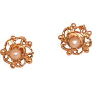 14K Yellow Gold and Pearl � Dainty � Post Earring