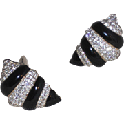 Carre` Shell Shaped Black Epoxy and Rhinestone Clip Earrings