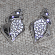 Swarovski Signed Shell Shaped Silver Plated Post Earrings