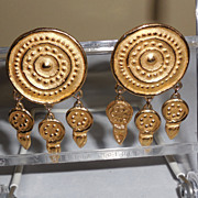 Givenchy Gold Plated Round Shield Clip Earrings