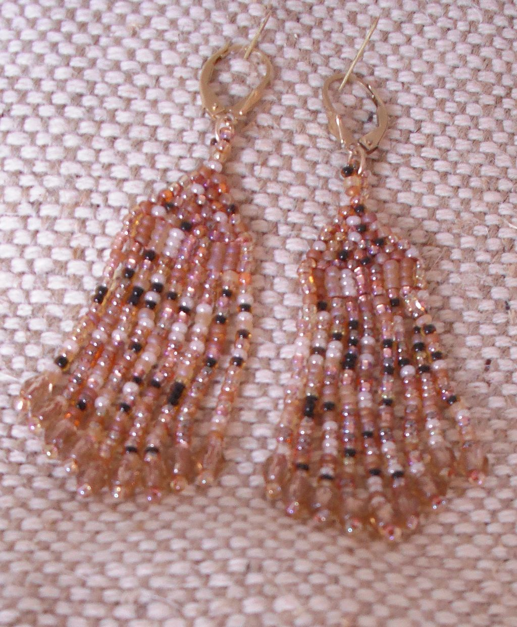 Brown Tweed Seed Bead Earrings