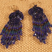 Blue Seed and Bugle Bead Earrings