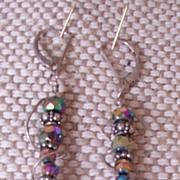 Czech Carnival Glass and Silver Earrings