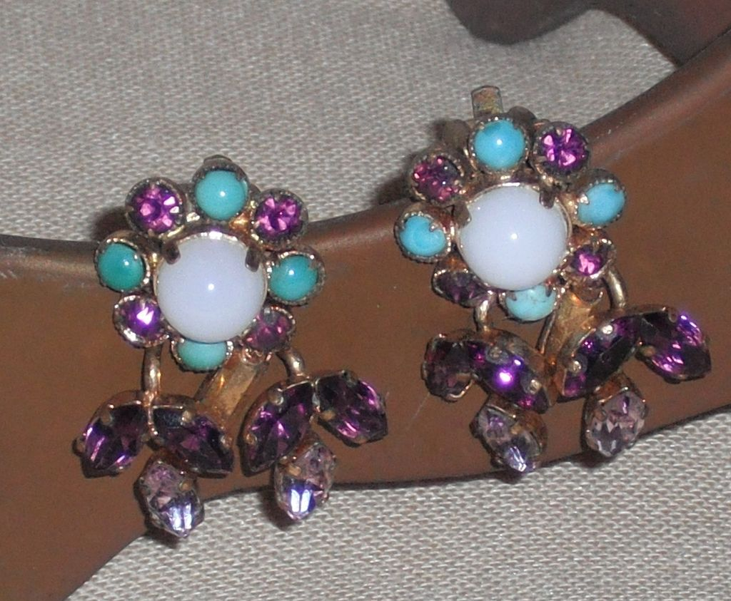 Austrian Crystal Clip Earrings Marked `Made in Austria'