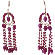 Art Deco 18K Yellow Gold Ruby Chandelier Vintage Dangle