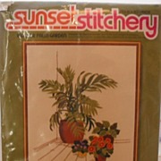 REDUCED Vintage needlework � Sunset Stitchery - Indoor Palm Garden
