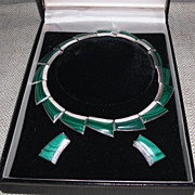 Malachite on Sterling Silver Demi Parure