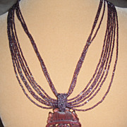 Amethyst Colored Seed Beads with Amethyst Quartz Pendant