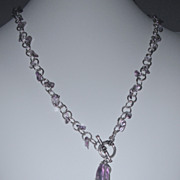 Amethyst and Sterling Silver Handmade Chain