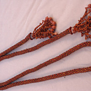 Rust and Bronze Seed Bead Crocheted Lariat - 43&quot;