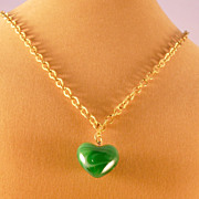 Necklace with Malachite Heart Pendant