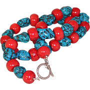 Large Fossilized Red Bamboo Coral / Turquoise Nugget Necklace with Sterling Silver Clasp