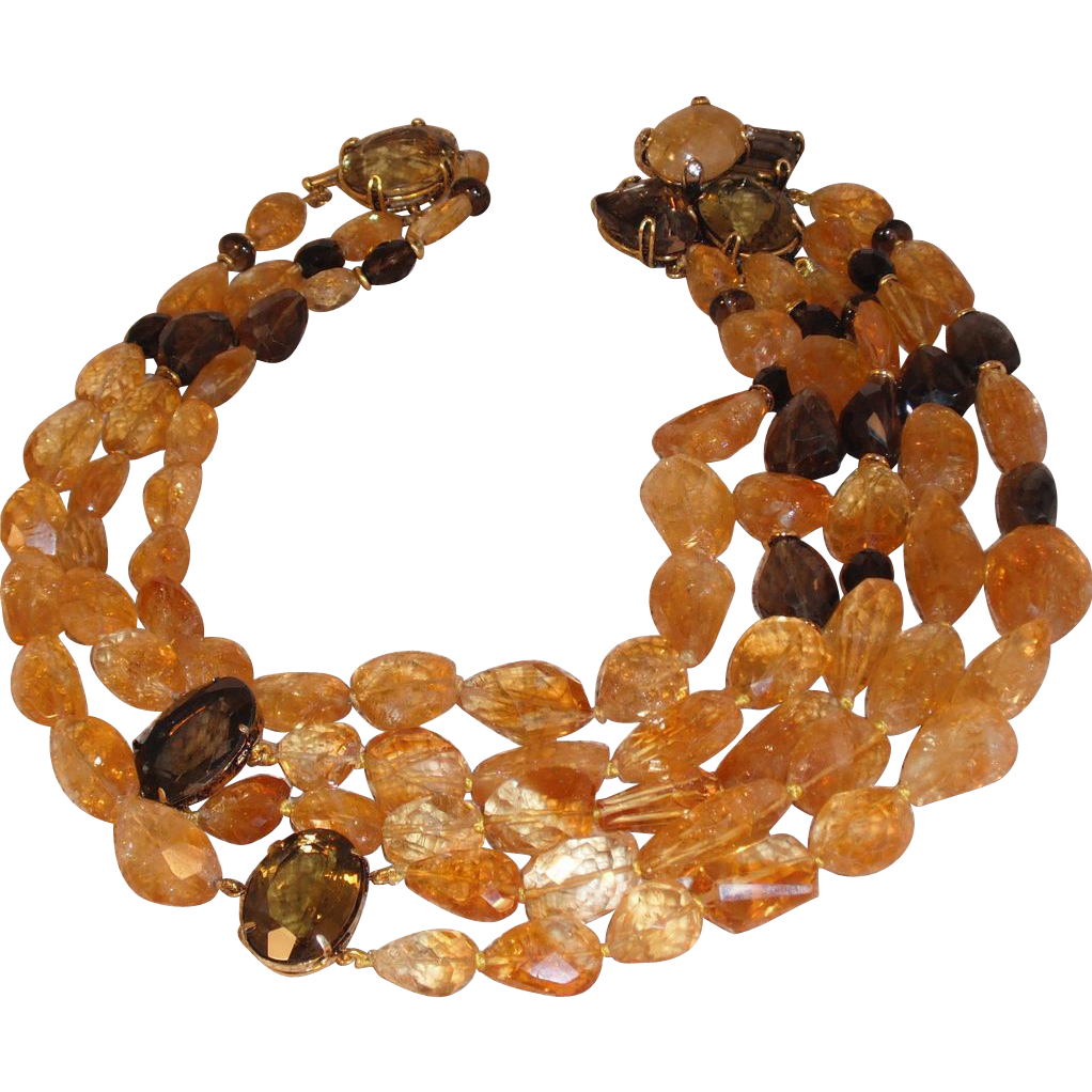 Iradj Moini Citrine and Topaz Necklace - 17&quot;