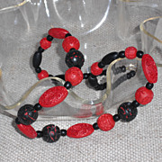 Red and Black Cinnabar Necklace  23