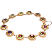 Schiaparelli Watermelon Tourmaline Rhinestone Necklace  16.25