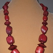 Redwood colored Wooden Bead Necklace
