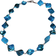 REDUCED Teal Dyed Mother of Pearl Nugget Necklace