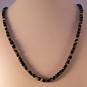 REDUCED Picasso Jasper (Grey/Black Stone) Necklace with Black Beads