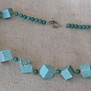 Turquoise Magnesite and Bali Silver Necklace � 30.5�