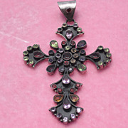 Outstanding Sterling Cross with Semi-Precious Stones