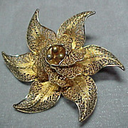 Vermeil Filigree Flower Pin