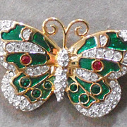Swarovski Signed Crystal Enamel Butterfly Brooch/Pin