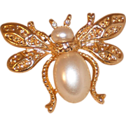 Gold Plated Bug Pin  Fly with Faux Pearl and Rhinestone