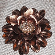 Bronze Leather Flower Pin